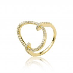 Gold ring with pave oval