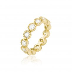 Gold ring with round cz stones