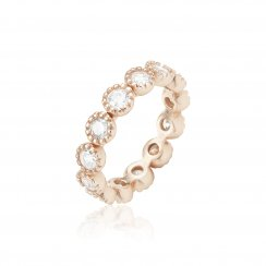 Rose gold ring with round cz stones