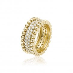 Gold ring with pave surround