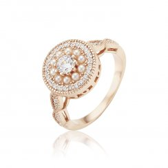 Rose gold ring with pearl surround