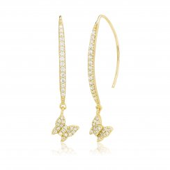 Gold earrings with  pave line and hanging butterfly