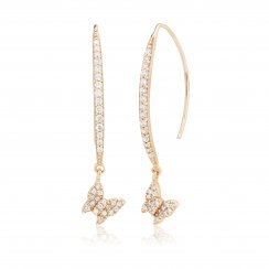 Rose gold earrings with pave line and hanging butterfly