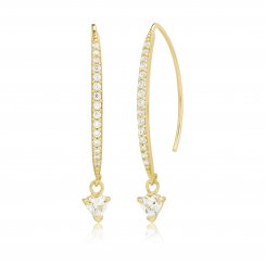 gold earrings with pave line and hanging stone