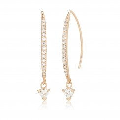 Rose gold earrings with pave  line and hanging stone