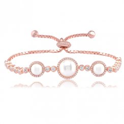 Rose gold tennis bracelet with large and small pearl