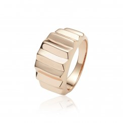 Rose gold ring with pyramid lines