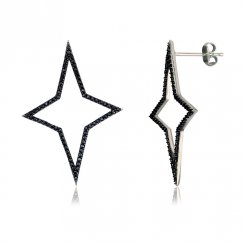 Silver star earring with black stones