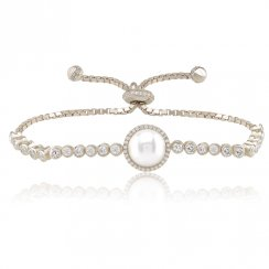 Silver adjustable tennis bracelet with centre pearl and pave surround