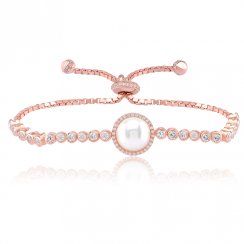 Rose gold adjustable tennis bracelet with centre pearl and pave surround