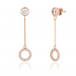Rose gold drop earring with open pave circle