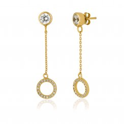 Gold drop earring with open pave circle
