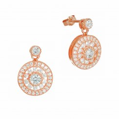 Rose gold antique circle drop earring