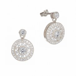 silver antique circle drop earring