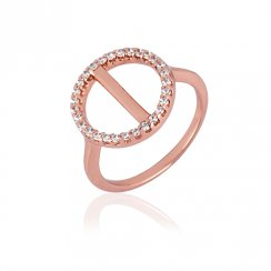 Rose gold ring with pave circle