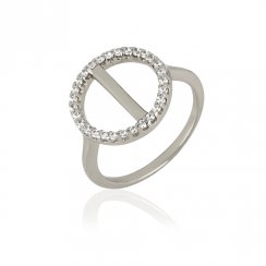 Silver ring with pave circle