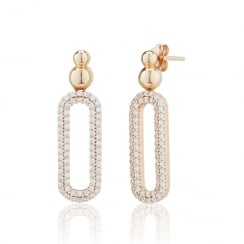 Rose gold pave oval drop earrings