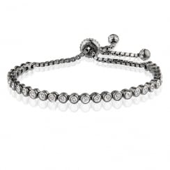 Black rhodium adjustable tennis bracelet
