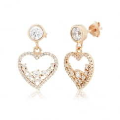 rose gold heart earrings with scattered stones