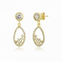 Gold earring with oval drop