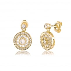gold antique circle drop earring=