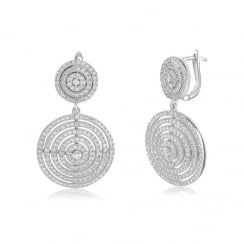 Silver double circle drop earring