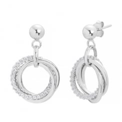 silver earrings with interlinked circles