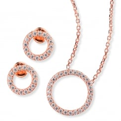 rose gold necklace and earring open pave circle boxset