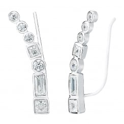 Silver ear climber with multi stones