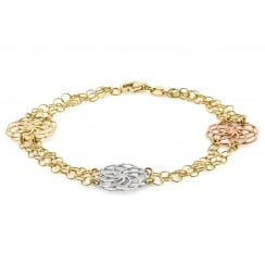 9ct 3-Colour Gold Diamond Cut Flower Disc Bracelet 19cm/7.5""
