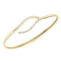 9ct Yellow Gold Flexible CZ Wave Detail Bangle