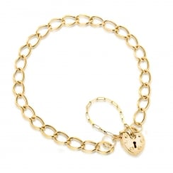 9ct Yellow Gold Heart Padlock Bracelet 18cm/7""