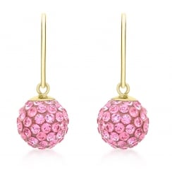 9ct Yellow Gold Pink Crystalique Ball Drop Earrings