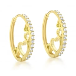9ct Yellow Gold CZ 20mm Hoop and Heart Huggy Earrings