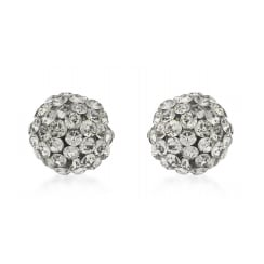 9ct Yellow Gold 7mm Grey Crystalique Ball Stud Earrings