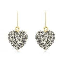 9ct Yellow Gold Grey Crystalique Heart Drop Earrings