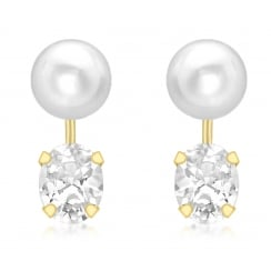 9ct Yellow Gold Fresh Water Pearl and CZ Drop Stud Earrings