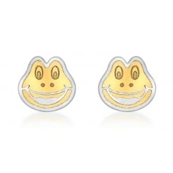 9ct 2-Colour Gold Frog Face Stud Earrings