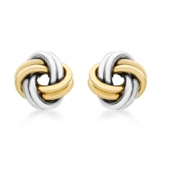 9ct 2-Colour Gold 10mm Knot Stud Earrings