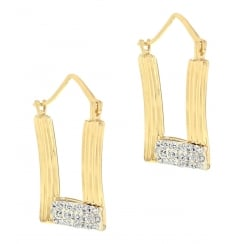 9ct Yellow Gold Crystalique Square Creole Earrings