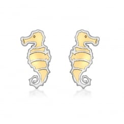 9ct 2-Colour Gold Seahorse Stud Earrings