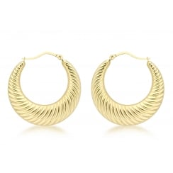 9ct Yellow Gold 33mm Ribbed Creole Earrings