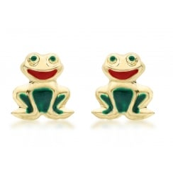 9ct Yellow Gold Enamel Frog Stud Earrings