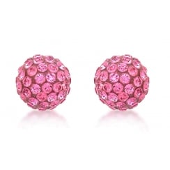 9ct Yellow Gold 7mm Pink Crystalique Ball Stud Earrings