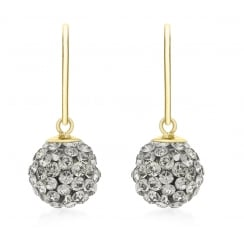 9ct Yellow Gold Grey Crystalique Ball Drop Earrings