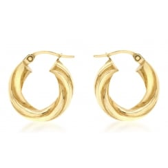 9ct Yellow Gold 17mm Twist Creole Earrings