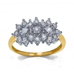 9ct Illusion Set 0.15 Carat Diamond Cluster Ring