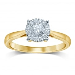 9ct Illusion 0.50 Carat Diamond Solitaire Ring