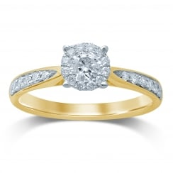 9ct Illusion 0.50 Carat Diamond Solitaire With Diamond Set Shoulder