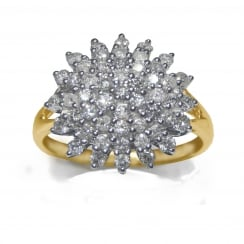 9ct 1.00 Carat Diamond Round Cluster Ring